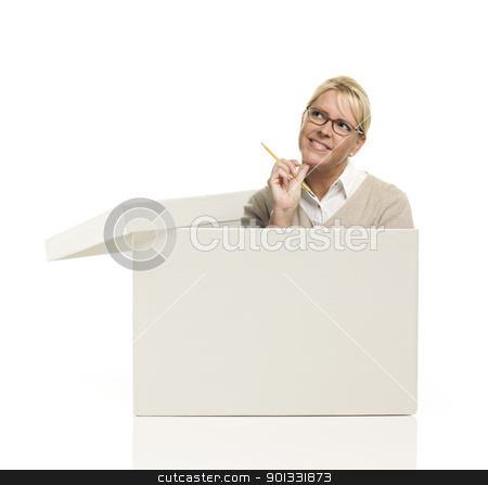 Pretty Female Popping Out and Thinking Outside The Box stock photo, Attractive Female with Pencil Popping Out and Thinking Outside The Box Isolated on a White Background. by Andy Dean