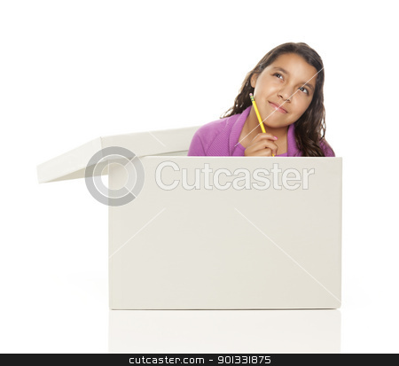 Ethnic Female Popping Out and Thinking Outside The Box stock photo, Attractive Young Ethnic Female with Pencil Popping Out and Thinking Outside The Box Isolated on a White Background. by Andy Dean