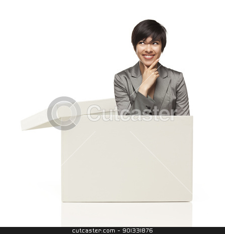 Ethnic Female Popping Out and Thinking Outside The Box stock photo, Attractive Ethnic Female Popping Out and Thinking Outside The Box Isolated on a White Background. by Andy Dean