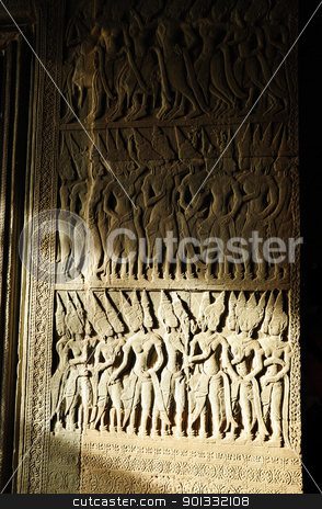 Statue at Angkor Wat, Cambodia stock photo, Statue at Angkor Wat, Cambodia by kowit sitthi
