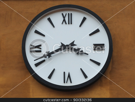 clock on brown wall  stock photo, clock on brown wall by kowit sitthi