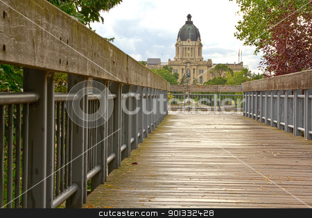 Saskatchewan Legistralive Building stock photo, Bridge leading to the Saskatchewan Legislative Building in Regina by derejeb