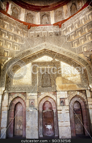 Decorations Inside Sheesh Shish Gumbad Tomb Lodi Gardens New Del stock photo, Decorations Inside Ancient Sheesh Shish Gumbad Tomb Lodi Gardens New Delhi India by William Perry