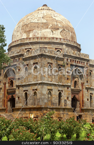 Bara Gumbad Tomb Lodi Gardens New Delhi India stock photo, Large Ancient Dome Bara Gumbad Tomb Lodi Gardens New Delhi India by William Perry