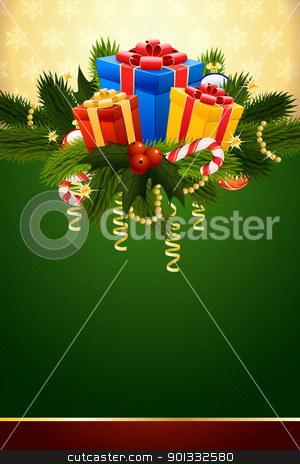 Christmas stock vector clipart, Christmas Card with fir mistletoe and decoration for your design by Vadym Nechyporenko