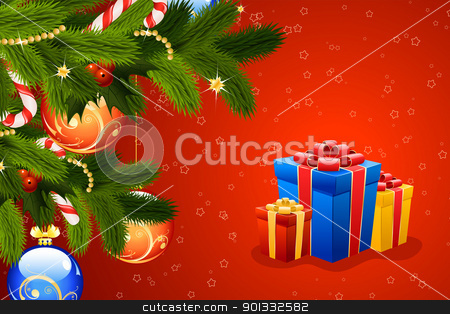 Christmas stock vector clipart, Christmas Card with fir mistletoe decoration and gifts for your design by Vadym Nechyporenko