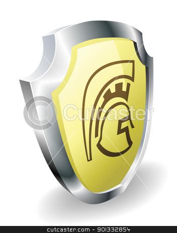 Spartan helmet shield security concept stock vector clipart, A Spartan, Trojan, or Roman shield security concept. Shield with helmet icon. by Christos Georghiou