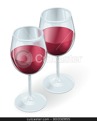 Two wine glasses illustration stock vector clipart, Two wine glasses side by side filled with red wine  by Christos Georghiou