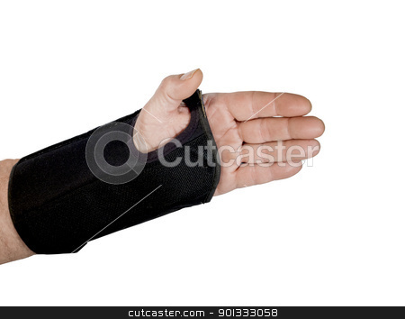wrist brace stock photo, mans wrist in a brace with clipping path at original size by digitalreflections