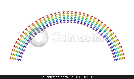 Rainbow stock photo, Rainbow of diamonds 3d render isolated on white by Borislav Marinic