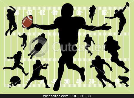 football players stock vector clipart, vector set of football silhouettes by Emir Simsek