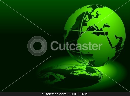 Green Globe stock photo, Green Globe - colored illustration by derocz