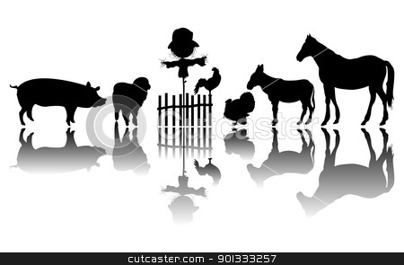 Farm animals silhouettes stock vector clipart, Silhouettes of farm animals and a scarecrow, isolated and grouped objects over white background by Richard Laschon