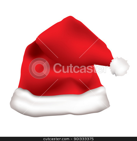 Red father christmas cap stock vector clipart, Red father christmas hat with white fur trim by Michael Travers