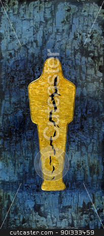 ripped golden Mummy stock photo, picture painted by me, named Mummy, it shows a abstract golden mummy with big cleft inside, located in a structured blue back by prill