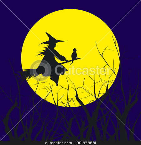 Halloween background silhouette of a witch flying in a broom wit stock vector clipart, Halloween background silhouette of a witch flying in a broom with cat  by meikis