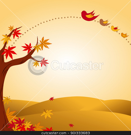 autumn landscape tree colorful leaf and bird stock vector clipart, autumn landscape tree colorful leaf and flying birds by meikis