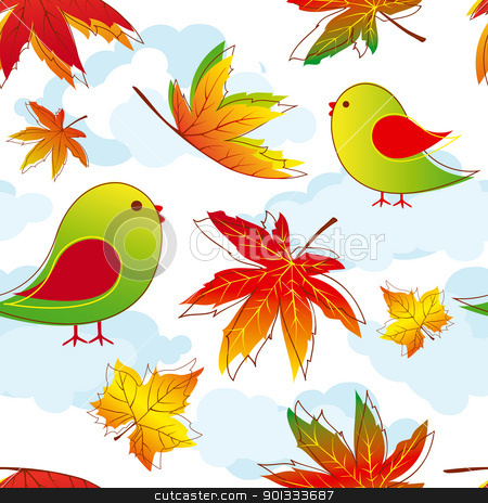 Colorful autumn leaves seamless pattern stock vector clipart, Abstract colorful autumn leaves seamless pattern by meikis