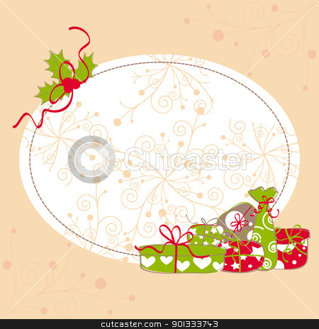 Christmas greeting card holly leaf and colorful present stock vector clipart, Christmas greeting card holly leaf and colorful present by meikis