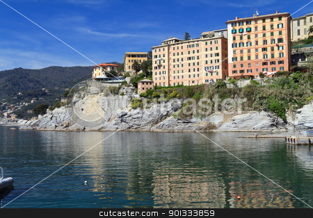 homes surrounding the sea  stock photo, typical homes over the sea in Camogli, small town in Mediterranean sea, Italy by ANTONIO SCARPI