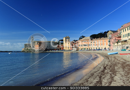 Sestri Levante, Italy stock photo, panoramic view of Silence bay in Sestri Levante, famous small town in Liguria, Italy by ANTONIO SCARPI