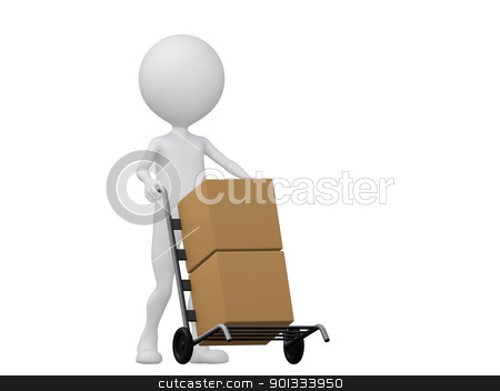 3d people icon with hand trucks and cargo boxes- This is a 3d re stock photo, 3d people icon with hand trucks and cargo boxes- This is a 3d render illustration   by dacasdo