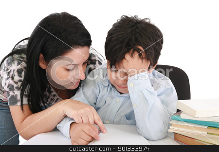 mother helping with homework to her son indoor  stock photo, mother helping with homework to her son indoor   by dacasdo