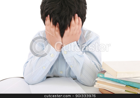 Schoolboy being stressed by his homework, isolated on white back stock photo, Schoolboy being stressed by his homework, isolated on white background   by dacasdo