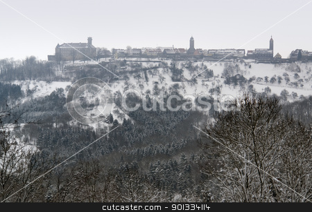 Waldenburg at winter time stock photo, idyllic winter scenery including Waldenburg, a small city in Hohenlohe located in Southern Germany by prill