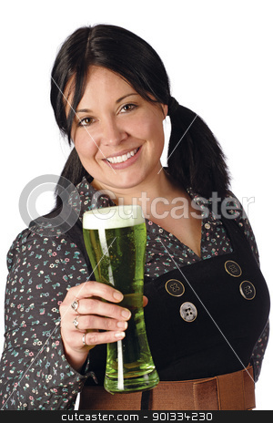 Serving the green beer stock photo, Pretty female with pigtails serving you a pint of green beer on St. Patricks Day.  by © Ron Sumners