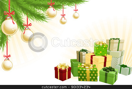 Christmas corner elements stock vector clipart, Christmas red, green and gold corner background elements. Christmas tree, balls and gifts. Corners can be moved for more space in centre by Christos Georghiou