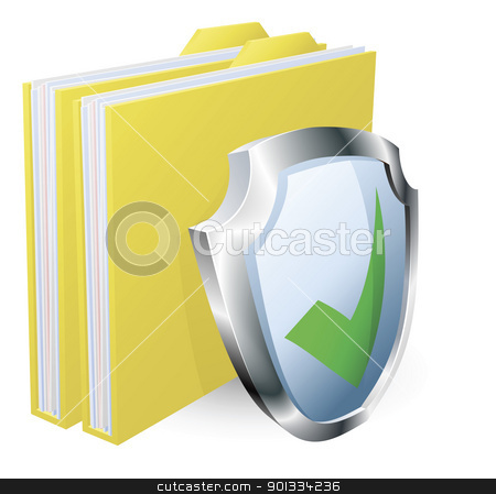 Protected folder document concept stock vector clipart, Protected folder document concept. File with green tick shield icon. by Christos Georghiou