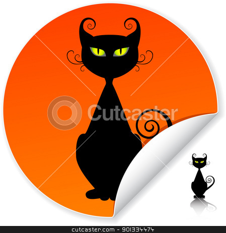 Black cat stock vector clipart, Black cat on orange sticker. by wingedcats