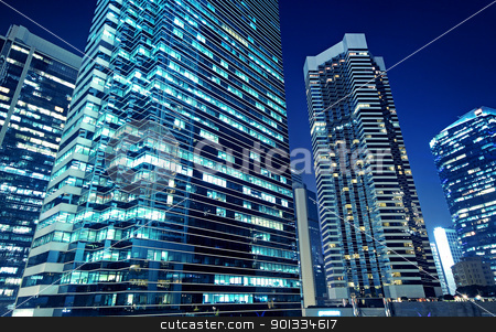 Tall office buildings by night  stock photo, Tall office buildings by night  by Keng po Leung