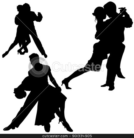 Dance Silhouettes stock photo, Dance Silhouettes - black illustrations and classic dance by derocz