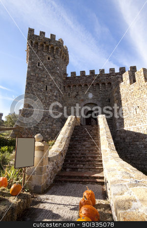 Castle Entrance stock photo, The entrance to a stone castle with pumpkins by Kevin Tietz