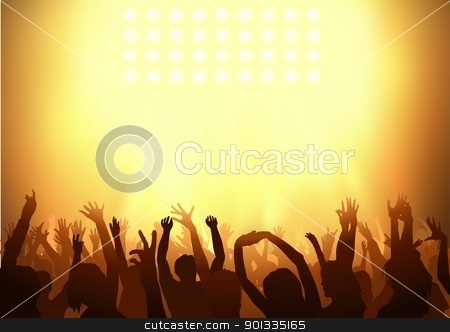Audience stock photo, Crowd dancing on a party - background illustration by derocz