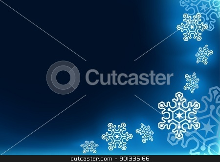Christmas Background stock photo, Blue Christmas Background with Snowflakes - Abstract Illustration by derocz