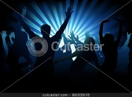 Dance Party stock photo, Dance Party - dancing silhouettes and light rays as background illustration by derocz