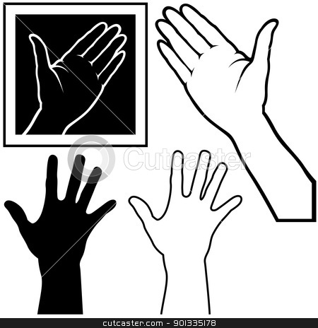 Hand stock photo, Hand - black and white illustration by derocz