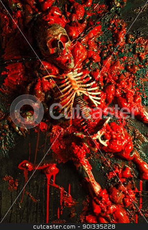 Blood and guts stock photo, Halloween image or background of blood, bones and guts.  Sculpture was built by me for a haunted house from a plastic skeleton, so I hold any copyrights. by &copy; Ron Sumners