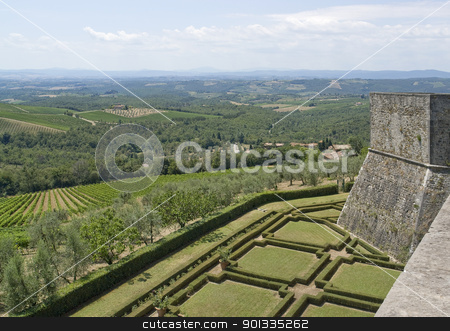 around Castle of Brolio stock photo, idyllic scenery with ornamental garden seen from Castle of Brolio near Gaiole in Chianti, located in the italian region Tuscany by prill