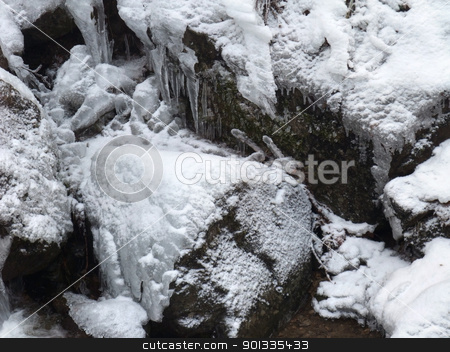 winter detail with snow and ice stock photo, full frame winter background with snow, stones and ice by prill