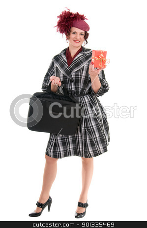  woman is with a bag and gift stock photo, woman with a bag and gift  in a ladies' hat isolated on white background by Salauyou Yury
