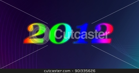 New Year 2012 stock photo, 2012 Happy New Year number on dark background with lines. by Henrik Lehnerer