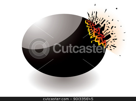 Exploding stone stock vector clipart, Black exploding stone icon with shrapnal elements by Michael Travers