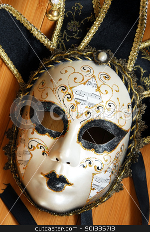 Venice mask stock photo, venice black and white mask with golden details by Julija Sapic