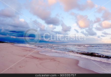 Sea waves. stock photo, Sea waves climbing on sandy shore. Wonderful cloudy evening sky. by sauletas