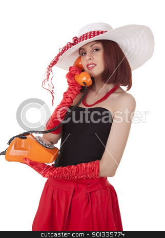 Fashion girl in retro style with vintage phone stock photo, Fashion girl in retro style with vintage phone on white background by Iryna Rasko