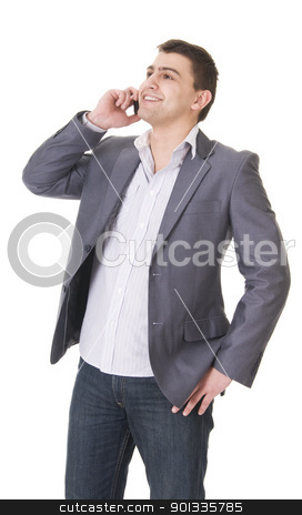 Young casual man with phone stock photo, Yiung casual man in jeans and jacket with phone isolated on white background by Iryna Rasko